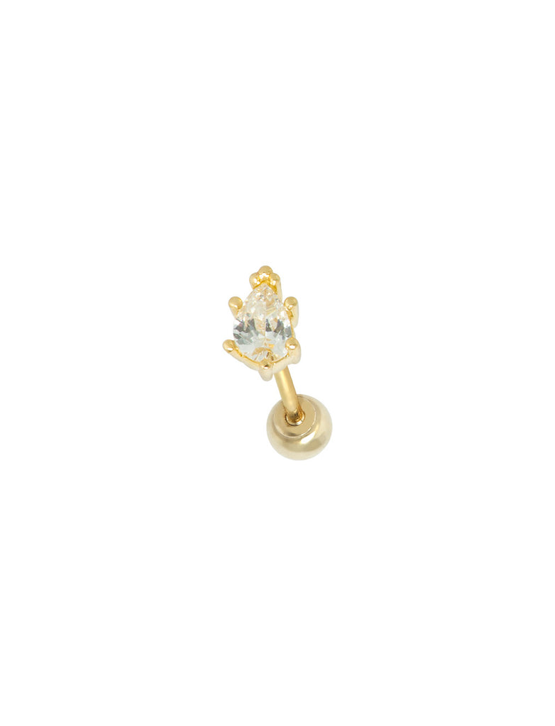 14K GOLD TEARDROP THREADED PIERCING STUD