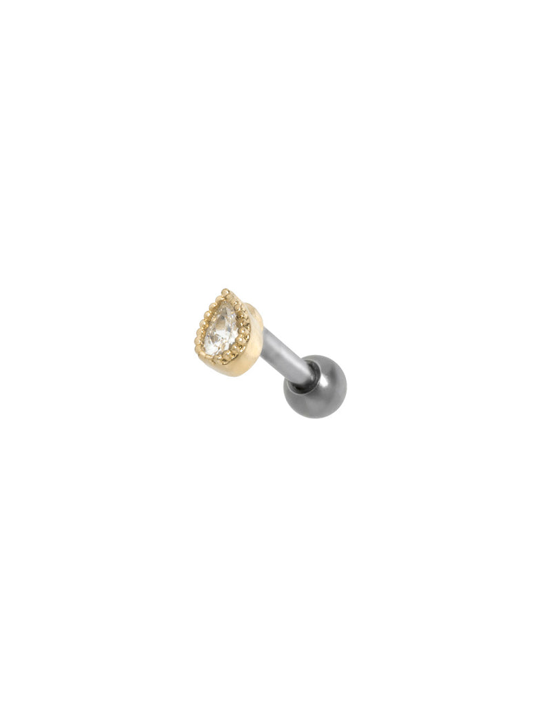 Crystal Teardrop Threaded Piercing Stud