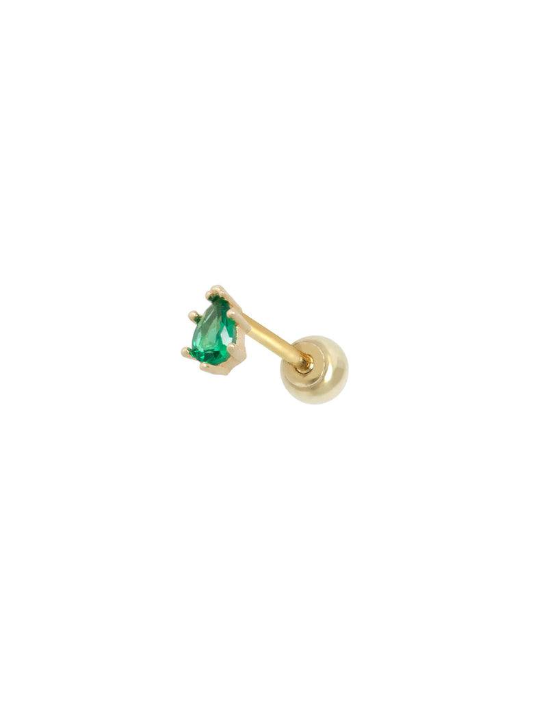 14K GOLD EMERALD TEARDROP THREADED STUD