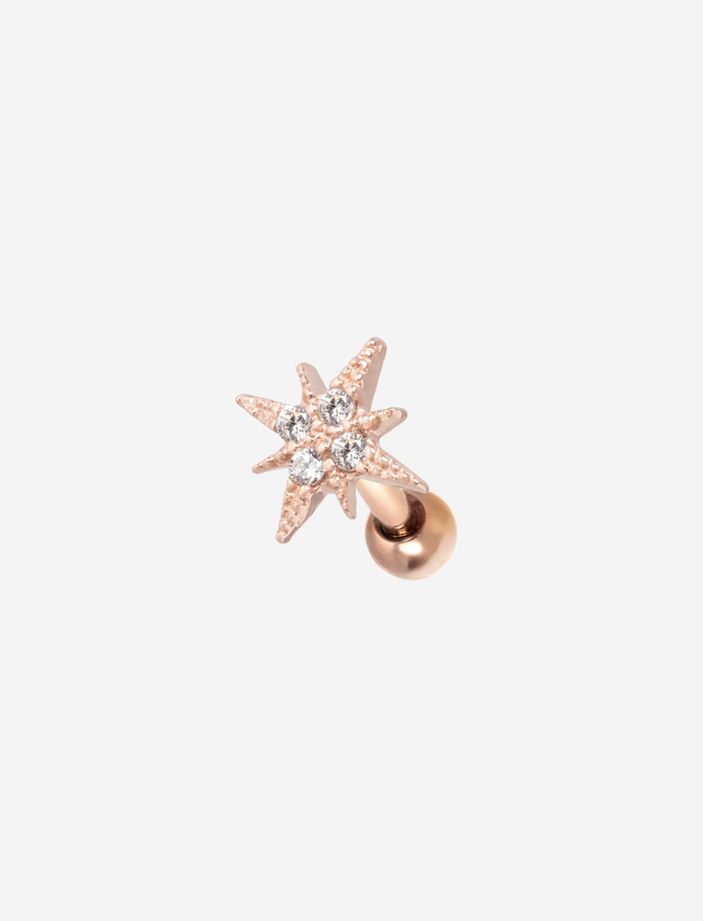 Sterling Silver Rose Gold Star Threaded Stud