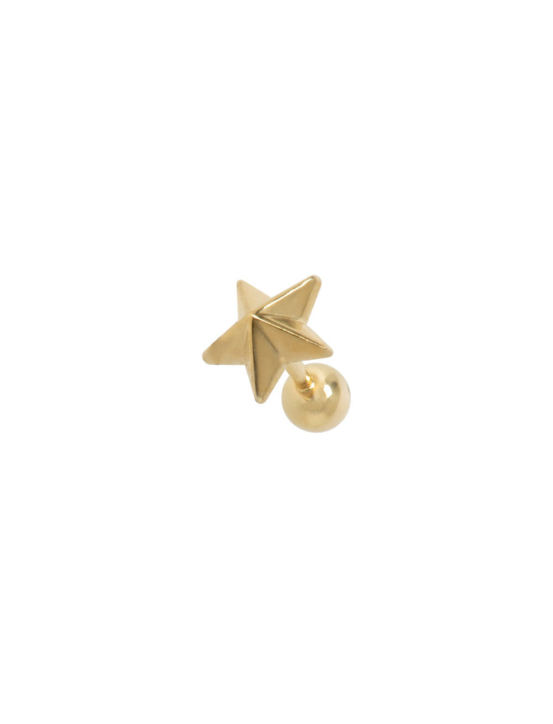 Gold Plated 3D Star Threaded Ear Stud