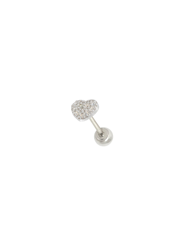 STERLING SILVER HEART THREADED EAR STUD
