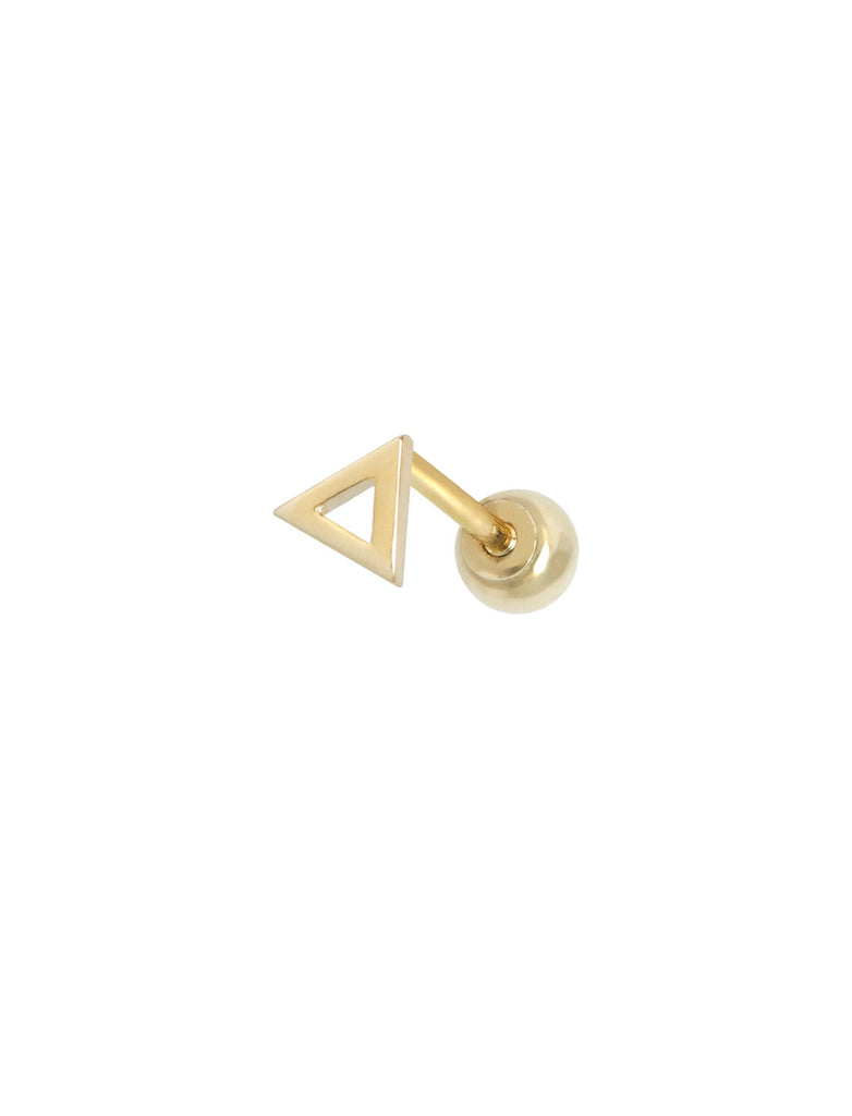 14K GOLD TRIANGLE THREADED PIERCING STUD