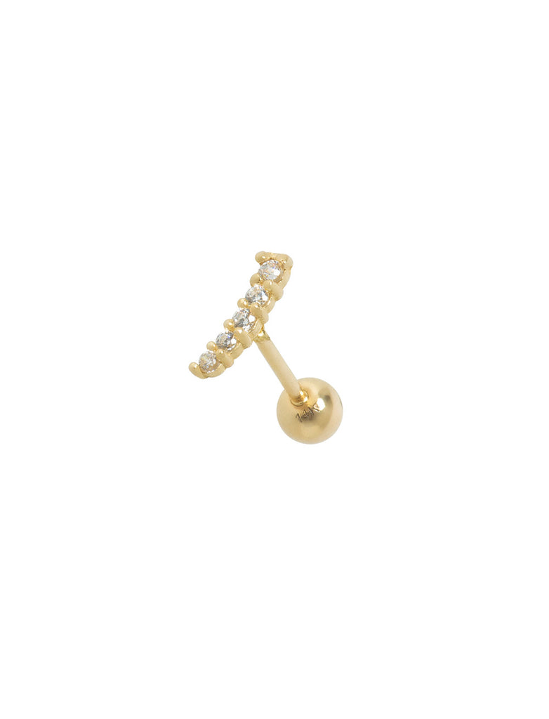 14K GOLD FIVE CRYSTALS THREADED EAR STUD