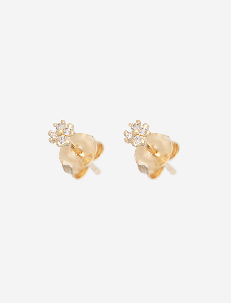 14K Gold Flower Ear Studs
