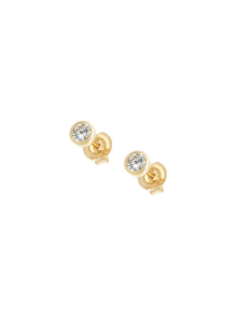 14K Gold Circle Stone Ear Piercing Studs