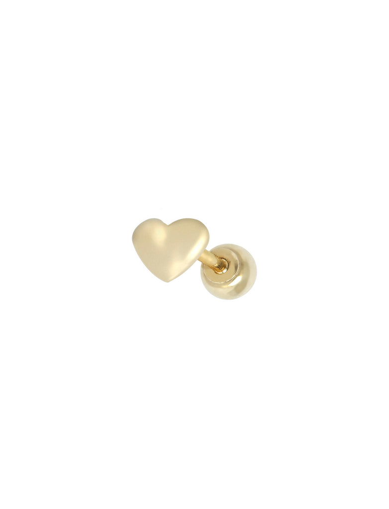14K GOLD HEART THREADED PIERCING STUD