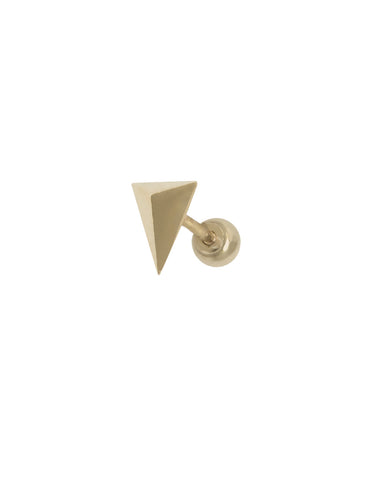 14K Gold Pyramid Threaded Piercing Stud