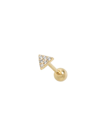 14K Gold Crystal Triangle Threaded Stud