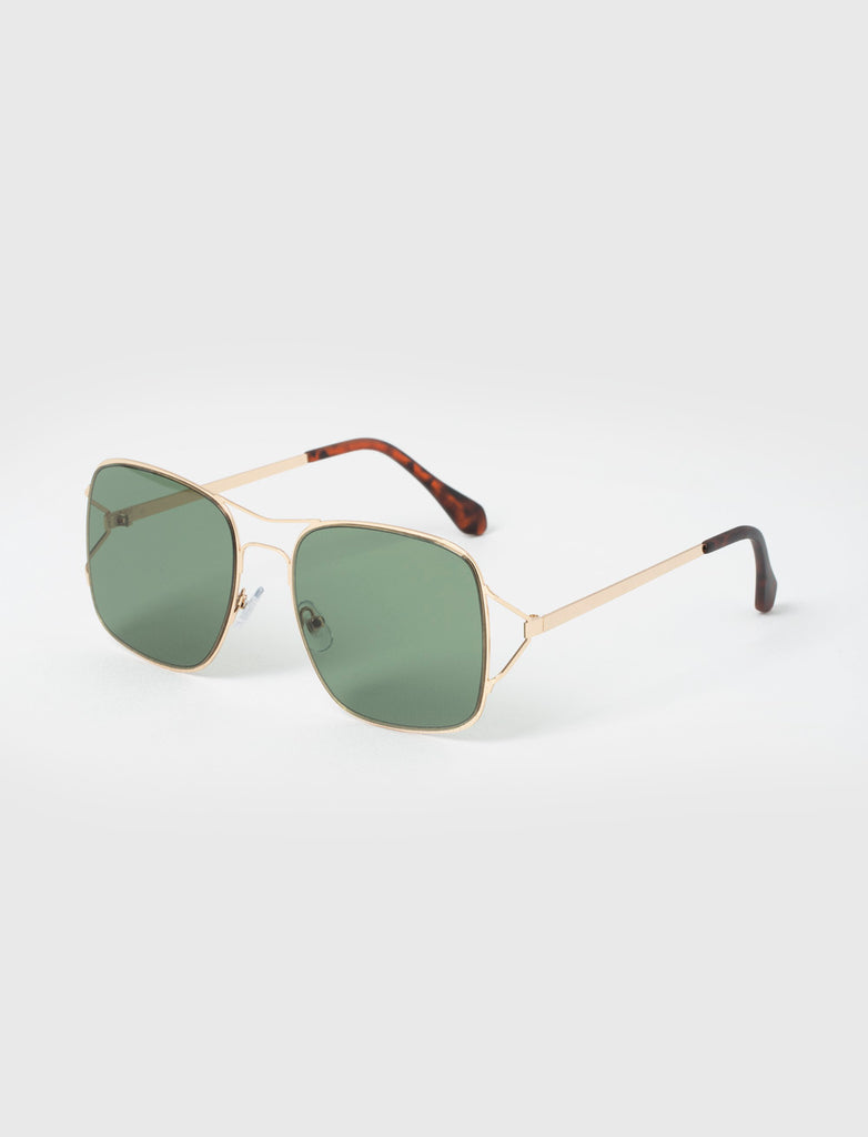 SQUARE AVIATOR GREEN/GOLD SUNGLASSES