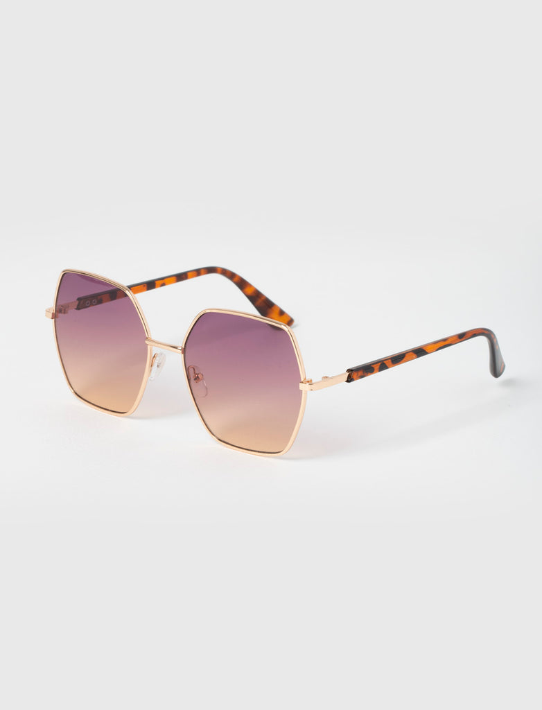 Hexagon Gradient Purple Gold Sunglasses