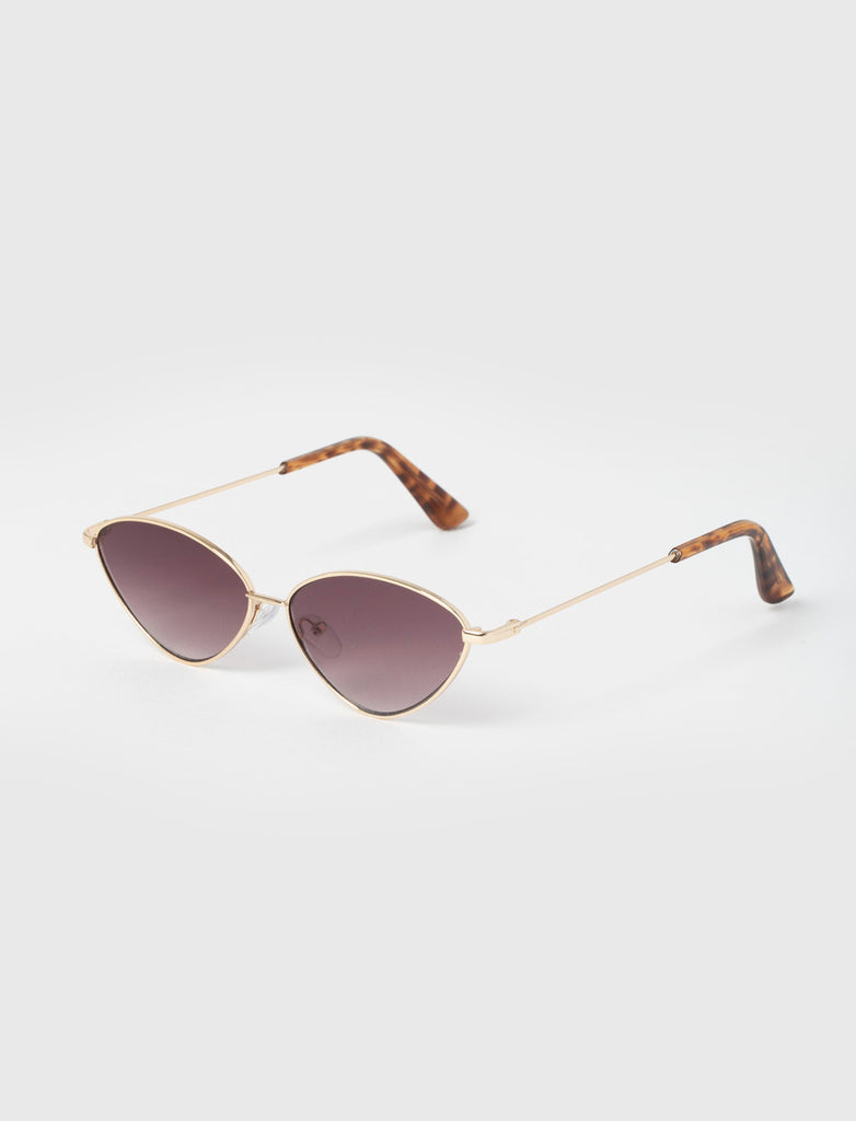 Cat Eye Purple & Gold Metal Sunglasses