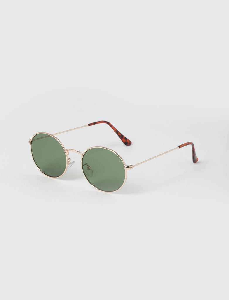 ROUND GREEN & GOLD METAL SUNGLASSES
