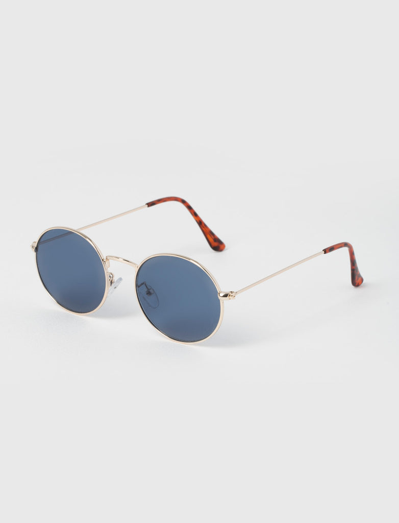 ROUND BLUE & GOLD METAL SUNGLASSES