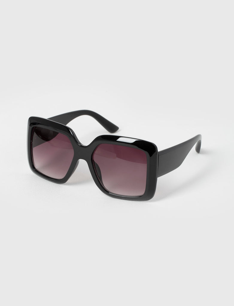 Oversized Chunky Square Black Sunglasses