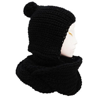 Hooded Knitted hat/scarf combo