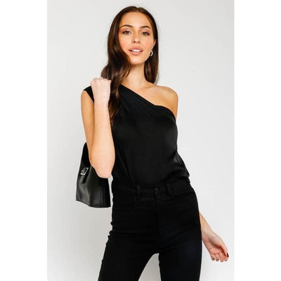 Black Satin one shoulder top