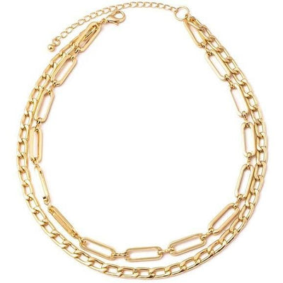 Double layer chain link necklace