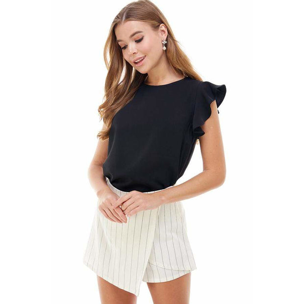 Black ruffle detail puff sleeve top