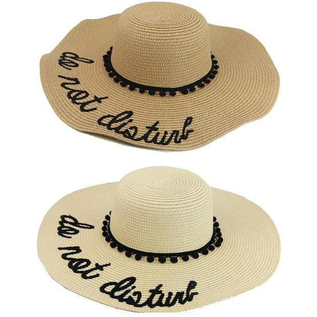 Wide Brim Letter Embroidery Beach Sun Straw Hat