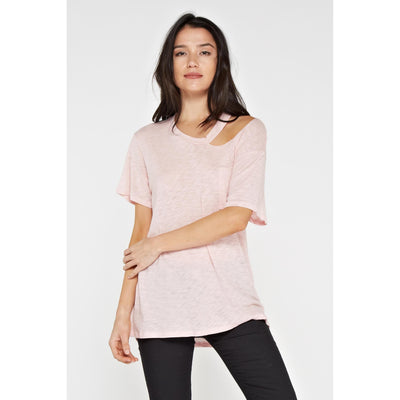 Blush boyfriend tee with cut out neck and pocket