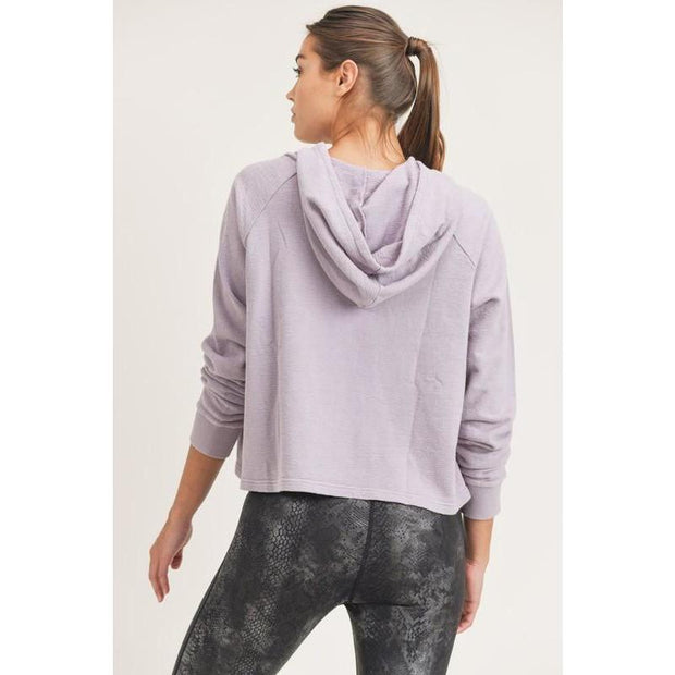 Mineral Wash Jacquard Hoodie Pullover in Nirvana