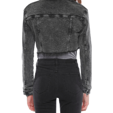 Oversized Cropped Acid Black Jacket