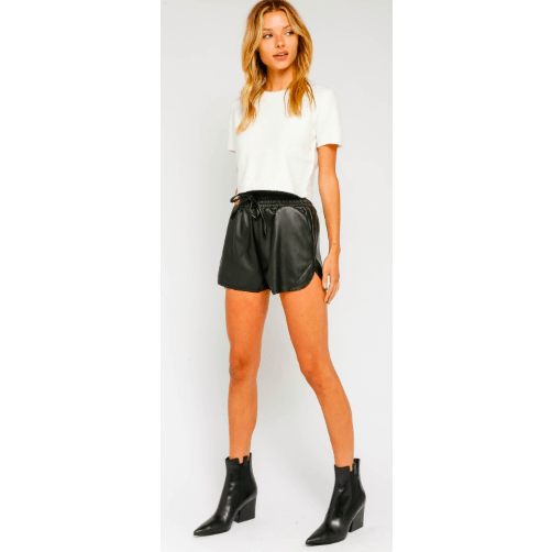 Black leather drawstring shorts