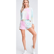 Tie dye long sleeve top and short lounge set