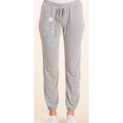Star and Moon print jogger in Heather Grey