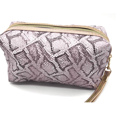 Lavender Metallic Snakeskin Make Up Bag