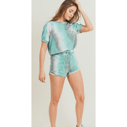Tie dye set - Aqua Blue (shorts and tee)