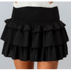 Black ruffle layered smock wait skirt