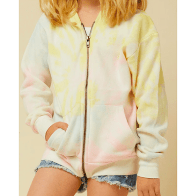 Kids Soft neon tie dye full zip hoody