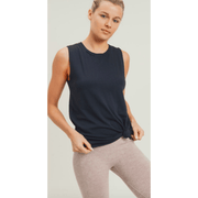 Essential Muscle Top with Ribbed Collar Accent (2 colors available)