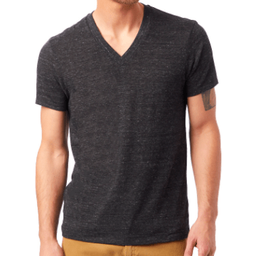 Men's V-neck tee in Eco Black
