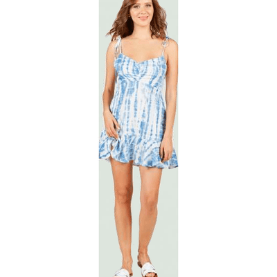 Rouched front tie strap ruffle dress (tie dye and snakeskin avail- 2 options)