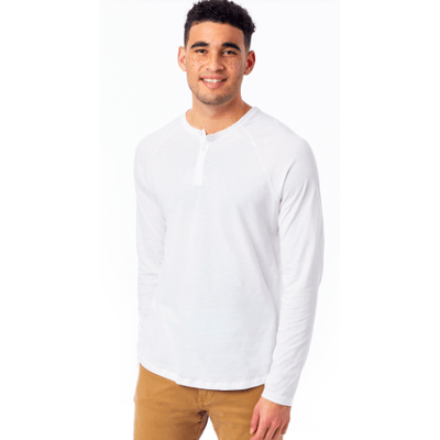 Men's organic long sleeve soft henley (Earth Ocean and White)