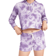 Terry Cropped Raw Edge tie dye Hoodie (Multiple Colors Available)