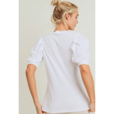 White flow top with puffed sleeves