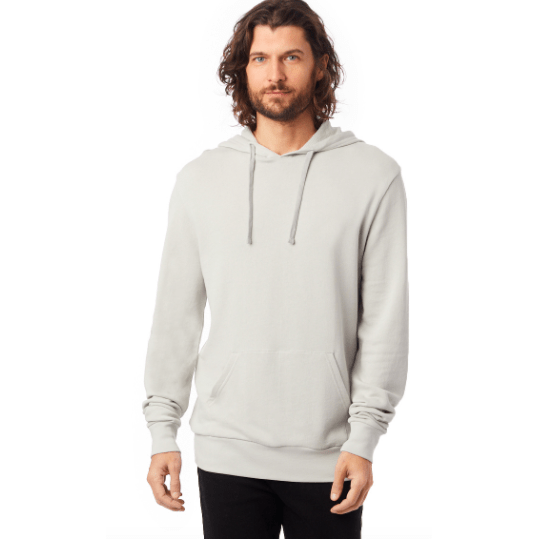 Men's Light Grey soft Washed Terry Pullover Hoodie