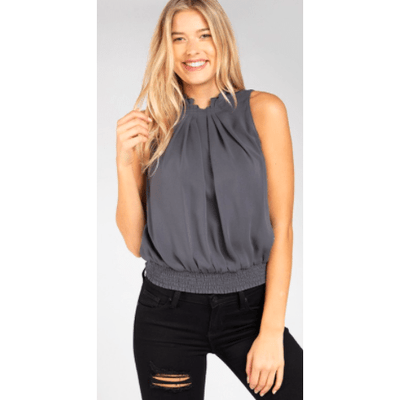 Pleated High Neck sleeveless top with smocking at waistband