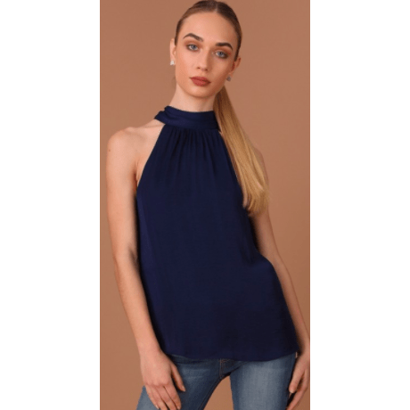 Mock Neck satin top in black