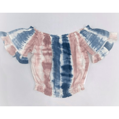Cotton Candy stripe tie dye off the shoulder bell sleeve top