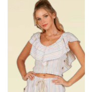 Patel candy striped smocked ruffle sleeve top
