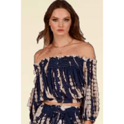 Tie Dye off the shoulder button front smocked top