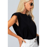 Padded shoulder sleeveless muscle tee in black