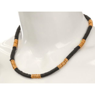 Beaded Flat Disc Necklace