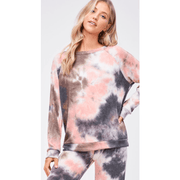 Coral/Grey/Black tie dye long sleeve/pants loungewear set