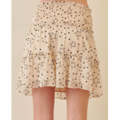 Star print smocked waist mini skirt